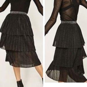 Zara Sparkly Black Tiered Tulle Midi Skirt